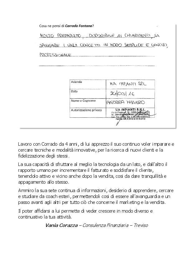 testimonianze dei clienti di Corrado Fontana